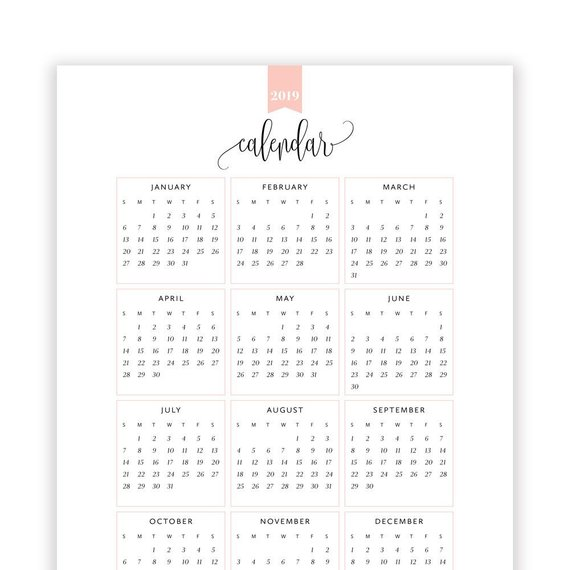 2019 Year At A Glance Calendar Year Printable Planner