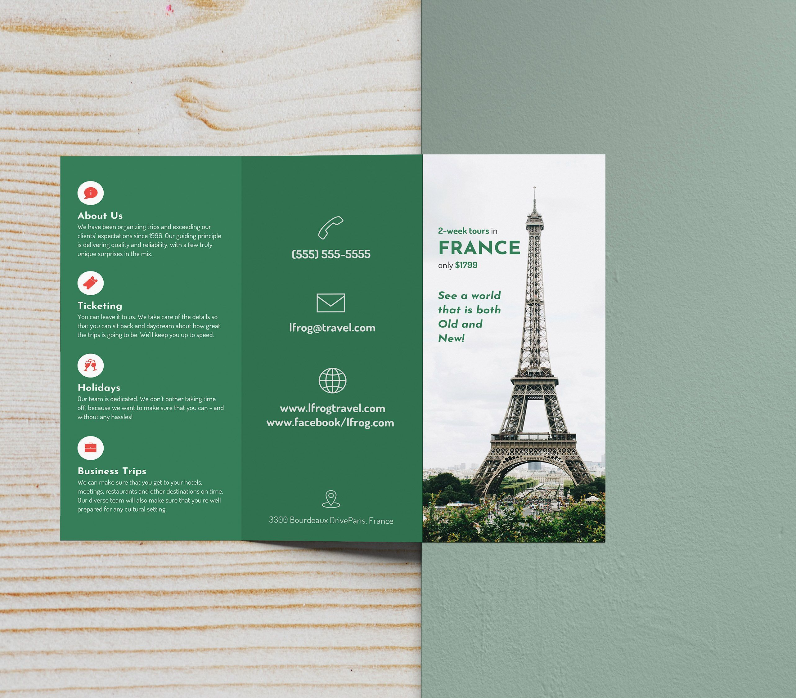 green photo centric tri fold travel brochure idea product