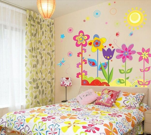 cartoon flower and butterfly girl removable pvc wall on wall stickers for kids id=81071