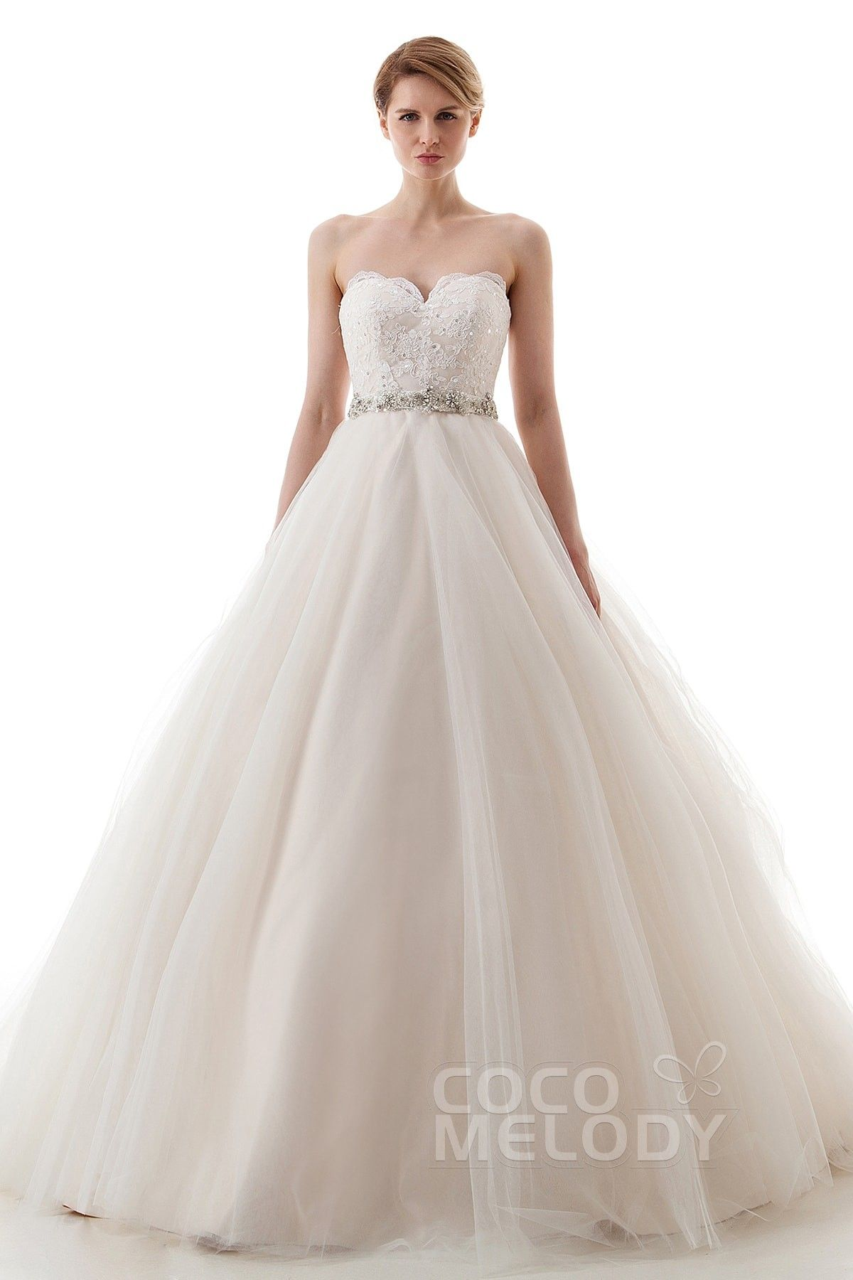 Champagne and ivory wedding dress  Perfect ALine Sweetheart Court Train Tulle IvoryChampagne