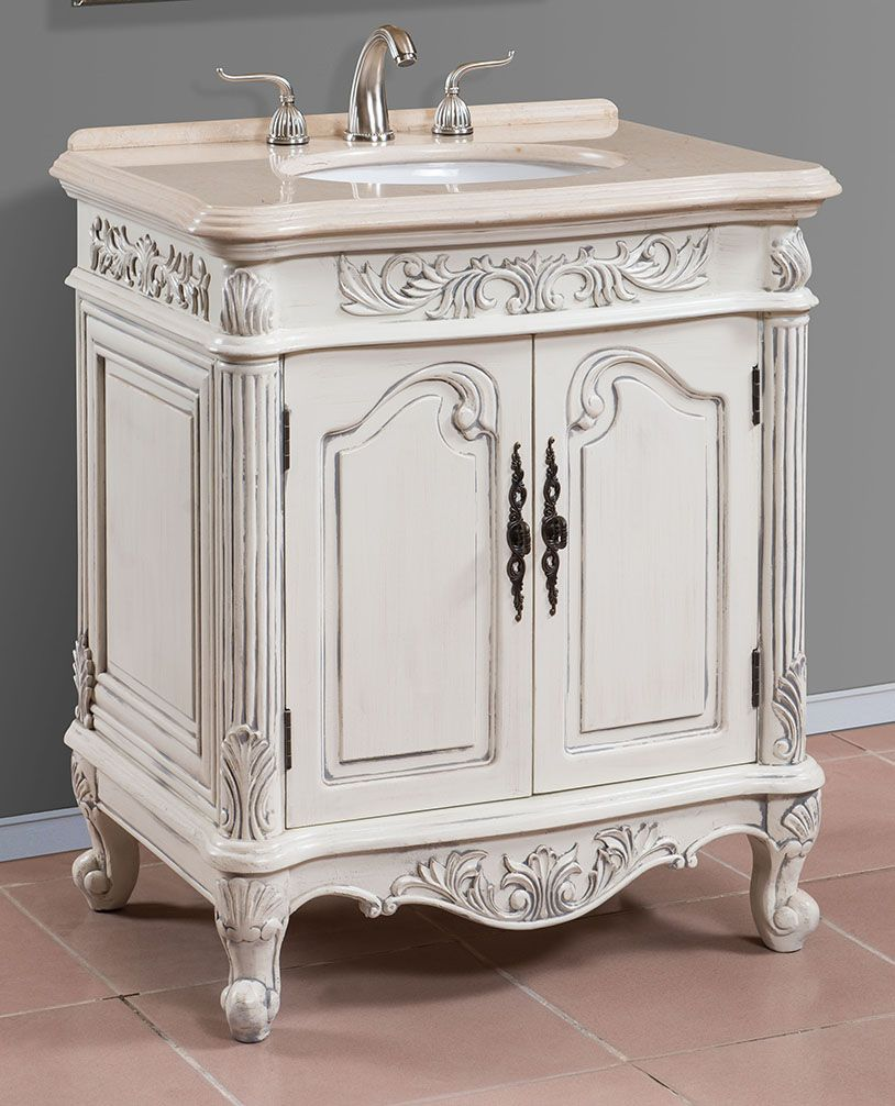30 Inch Antique White Single Sink Bath Vanity with Cream Marble Top - Item  4330