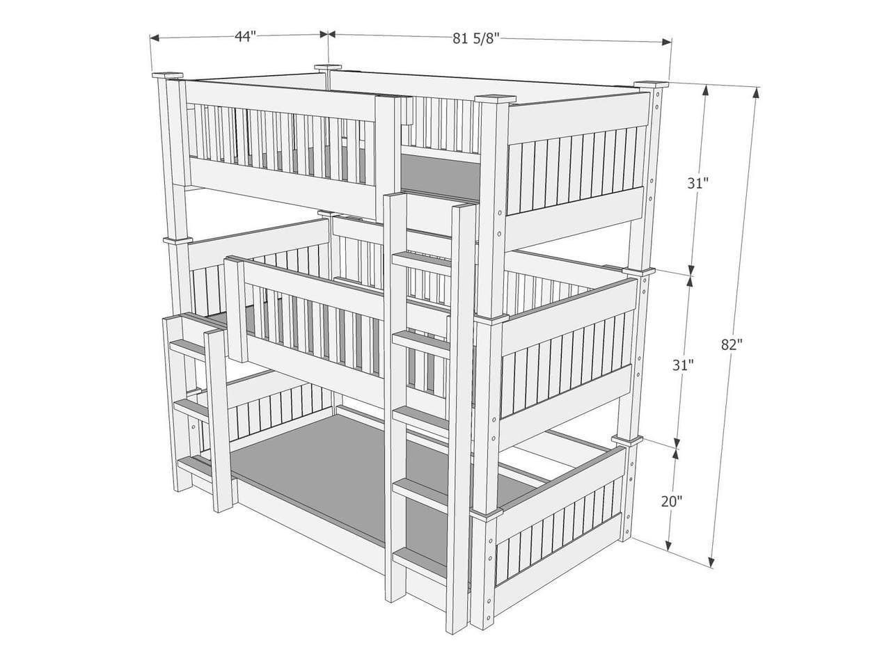 Loft bed plans with stairs  Dimensions of Triple Bunk Bed B  rino  Pinterest  Triple bunk