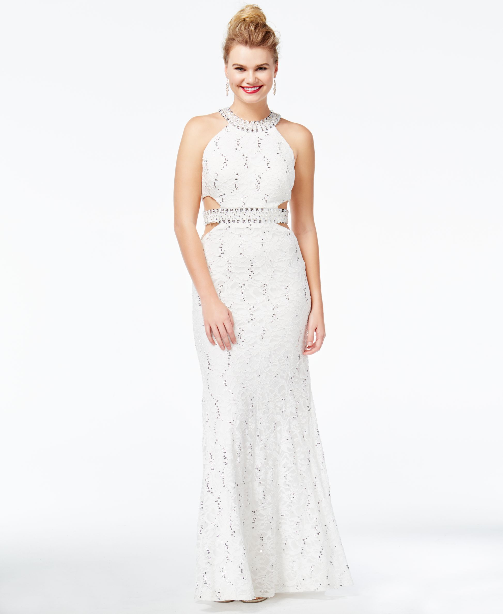Lace dress macys  B Darlin Juniorsu Cutout Sequined Lace Gown  Products  Pinterest