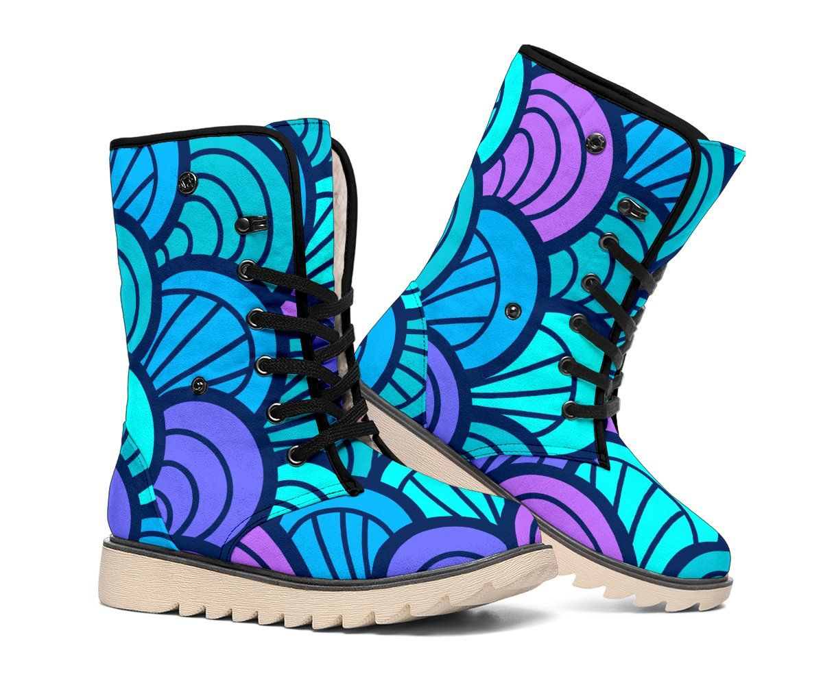 Teal Pink Mermaid Scales Pattern Print Polar Boots