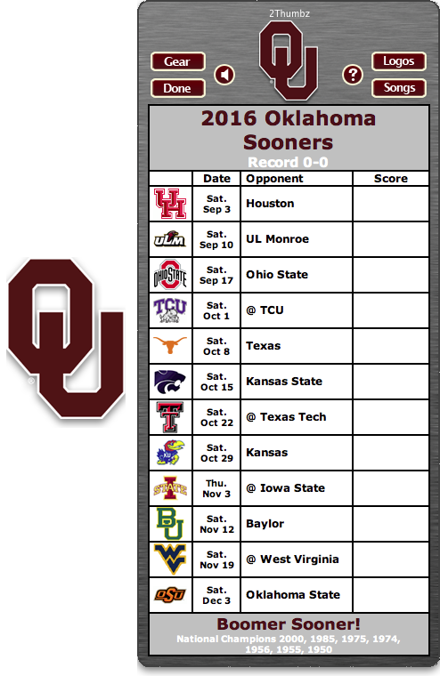 Get your 2016 Oklahoma Sooners Football Schedule App for