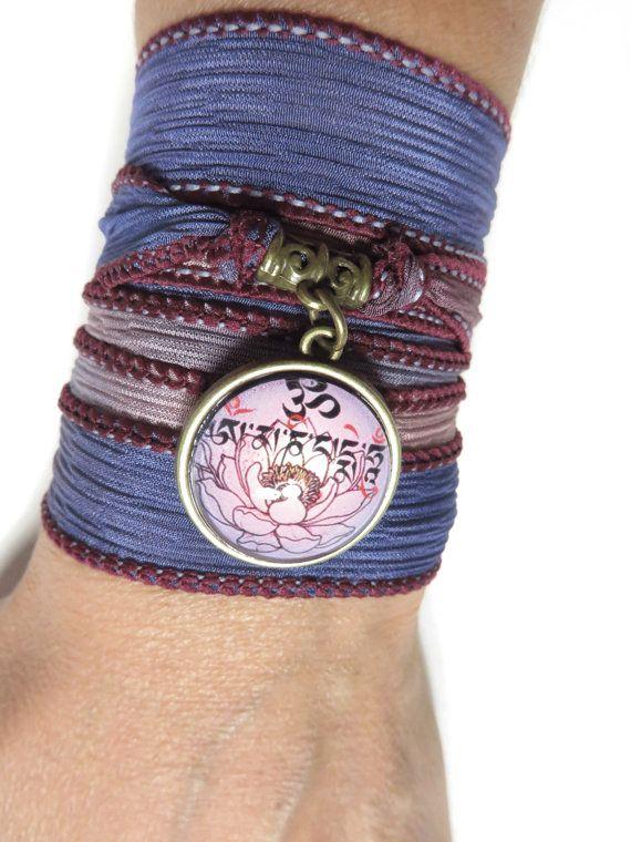 Namaste Om Silk Wrap Bracelet Yoga Jewelry Purple by HVart on Etsy