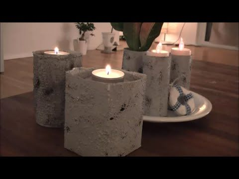 diy mit strukturpaste beton imitieren windlichter vasen basteln tetra pack pinterest. Black Bedroom Furniture Sets. Home Design Ideas