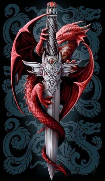 Wish | 5D DIY Diamond Painting Cross Stitch Red Dragon Sword Pattern Rhinestone Crystal Needlework Diamond Embroidery Set Mosaic Kits