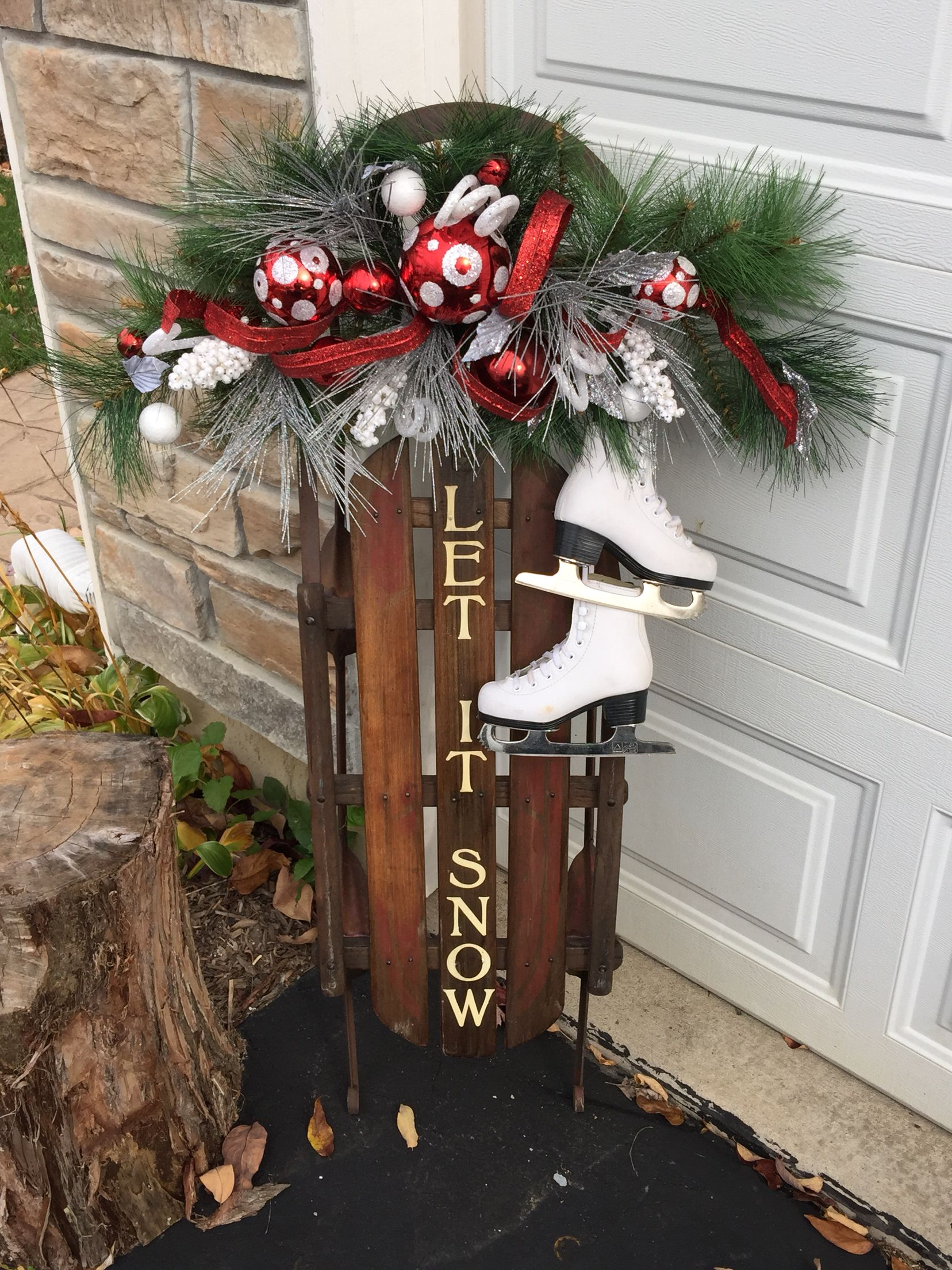 decoration ideas for christmas vintage sled with toddler ice skates love how this came out found the skates on craigslist - Craigslist Outdoor Christmas Decorations