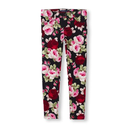 329aae1c410d7 Rose Print Woven Jeggings | The Children's Place | Ladylike Romance ...