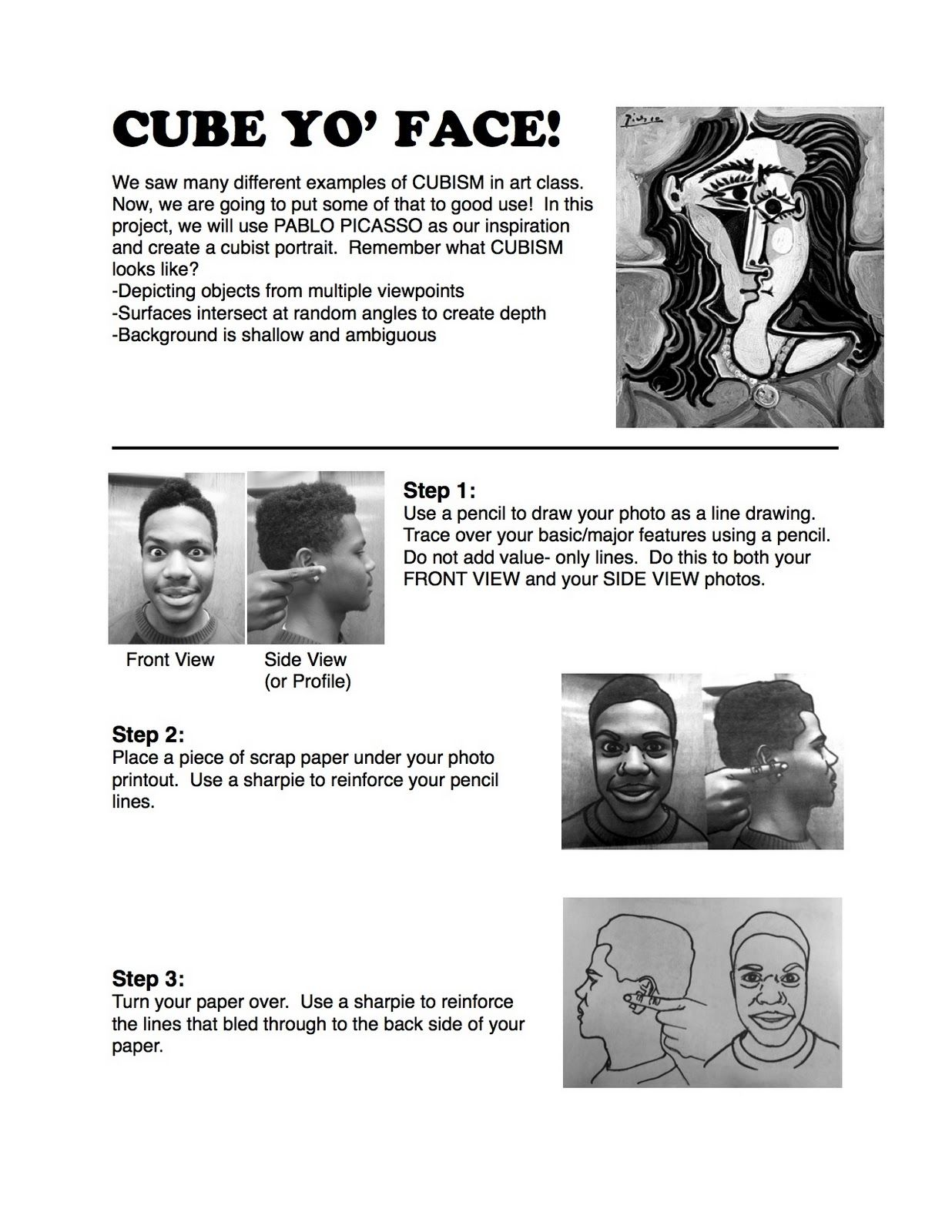 Lesson Cube Yo Face Aka Picasso Portraits