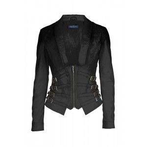 Womens Fitted Leather Jacket with Corsage Waist and Buckles - Core Spirit Online Shop