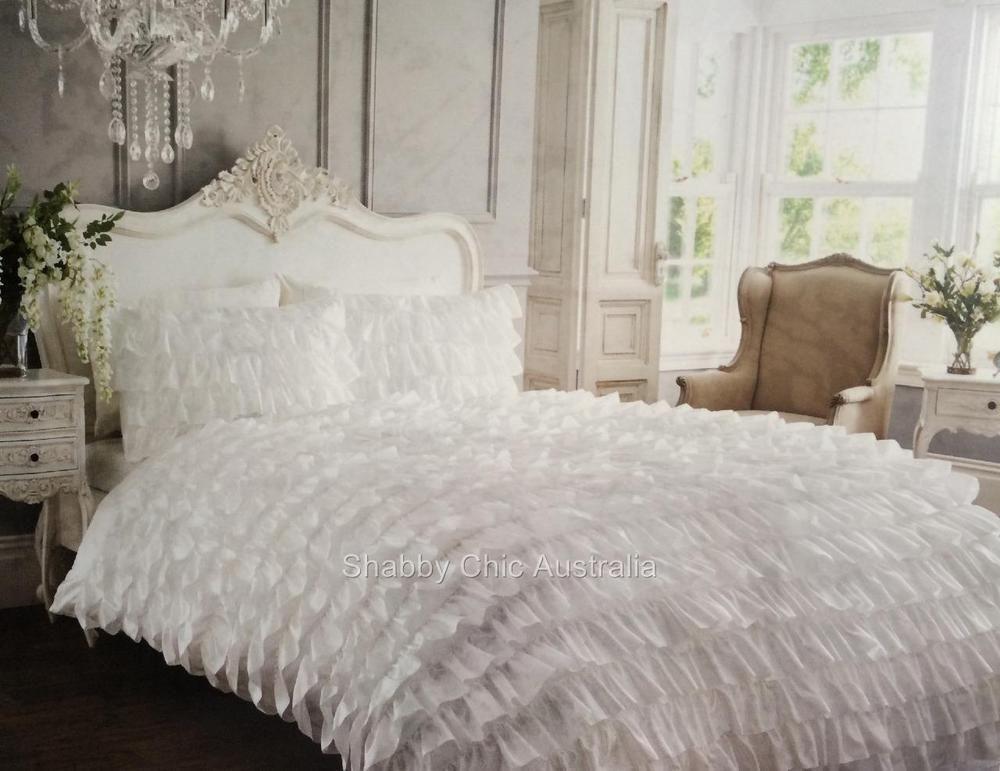 Shabby White Satin Ruffle Double Bed Petticoat Doona Duvet Quilt