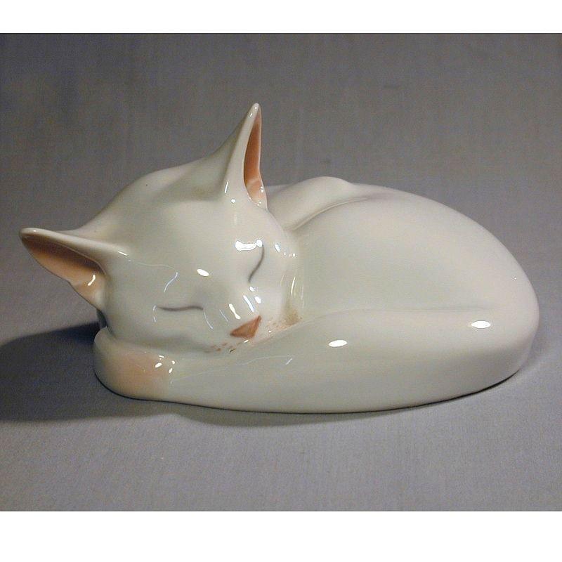 Royal Copenhagen Danish Porcelain Sleeping White Cat