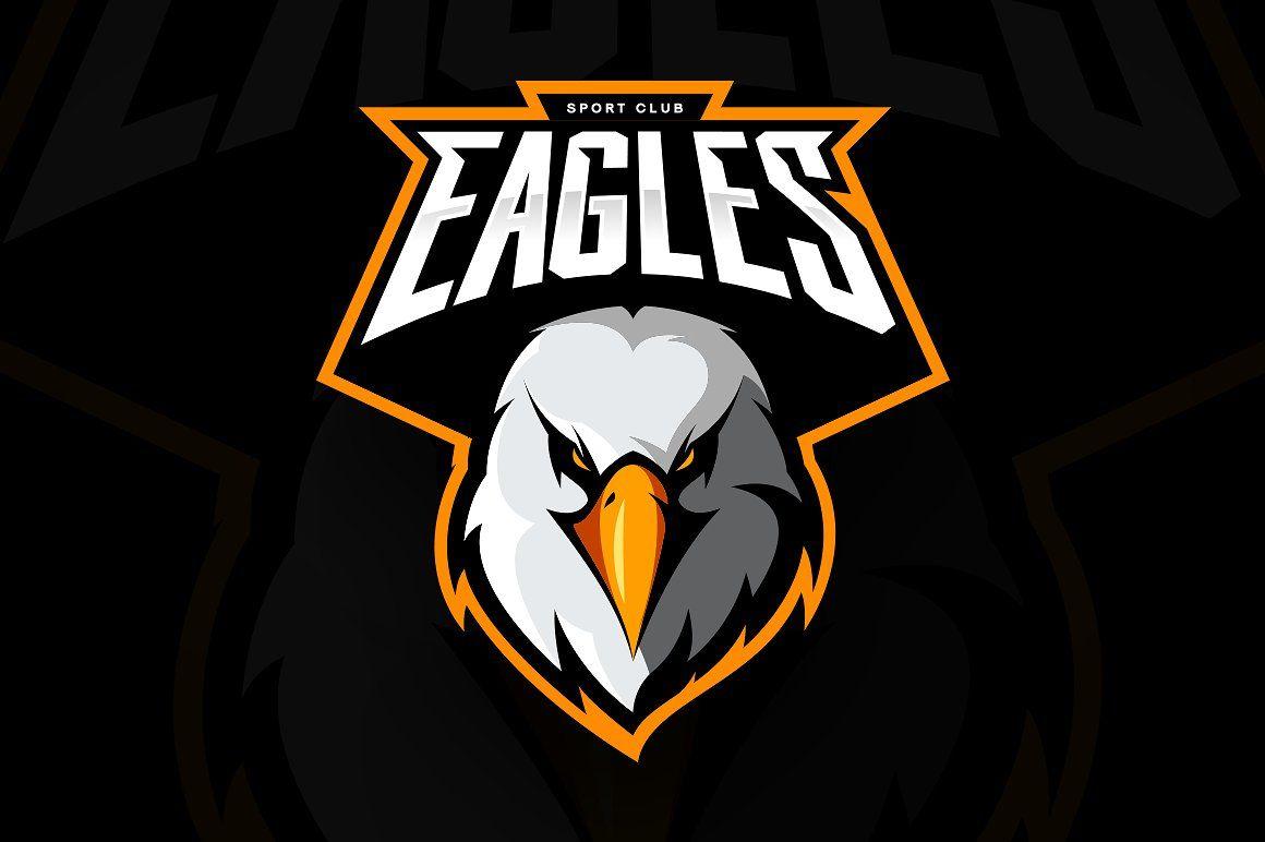 Furious eagle head athletic club vector logo concept