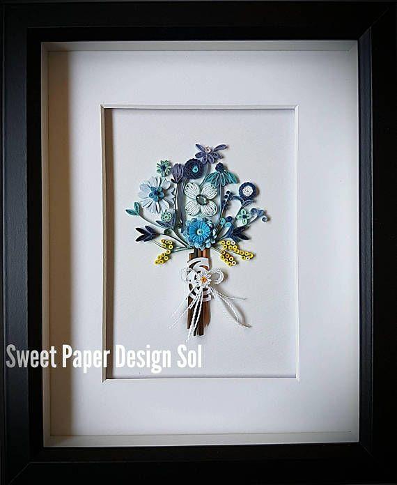 Quilling Art Paper Quilling Frame Art Or Card Blue Flower Bouquet