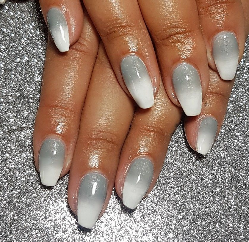 Grey Glitter Ombre Coffin Nails Winter Nails Acrylic Silver Nails White And Silver Nails