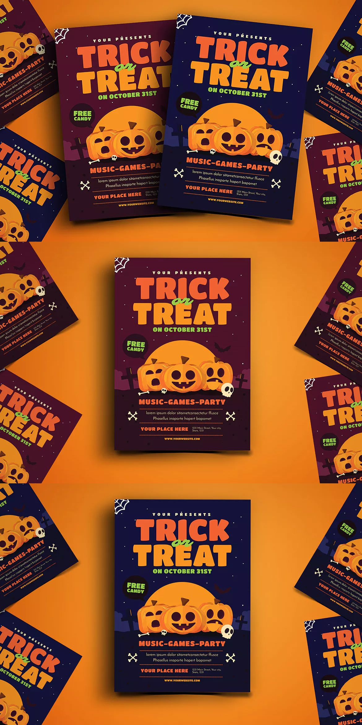 Trick or Treat Halloween Event Flyer Template AI, PSD A4