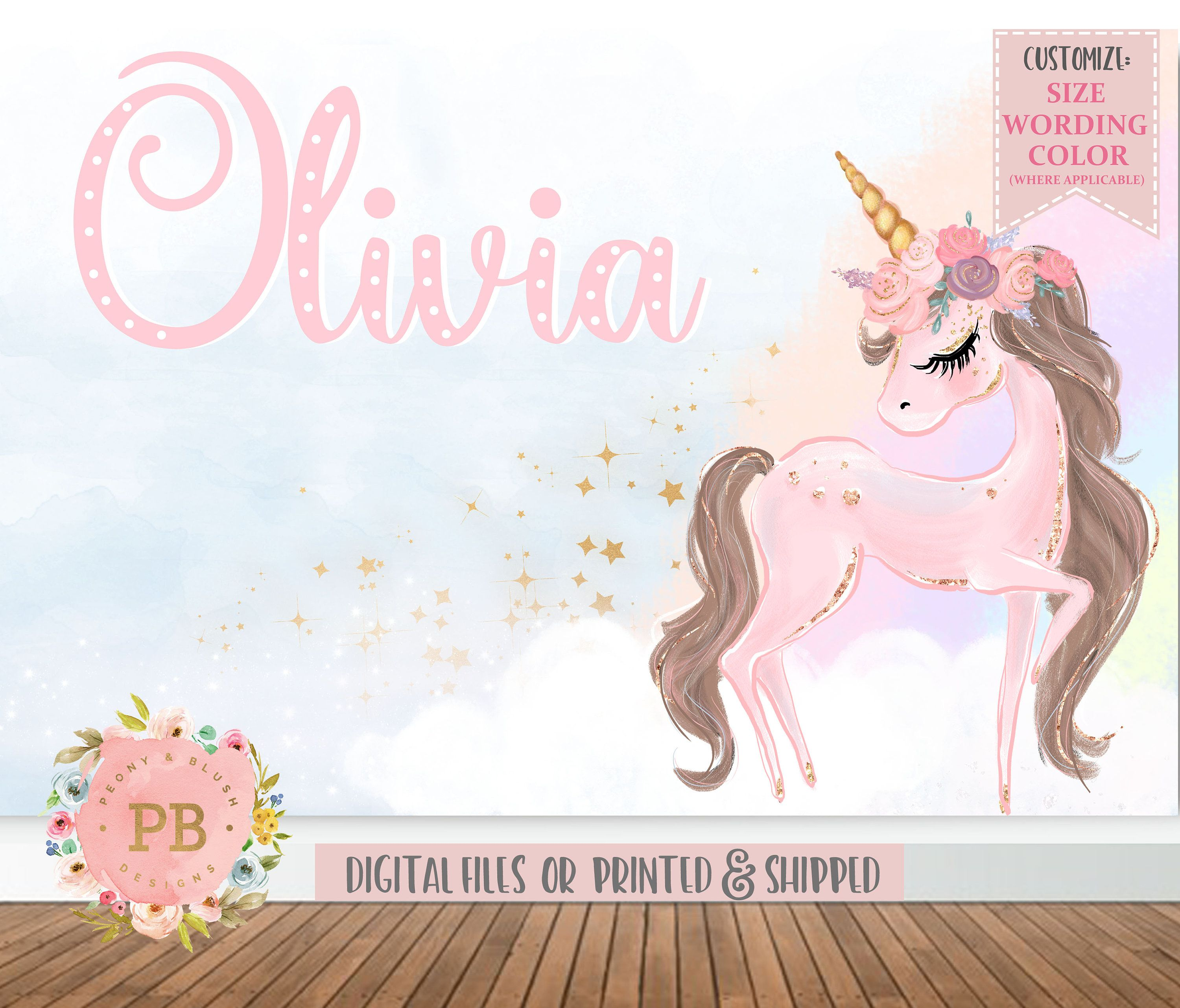 Unicorn Backdrop - Unicorn Party Backdrop, Unicorn ...