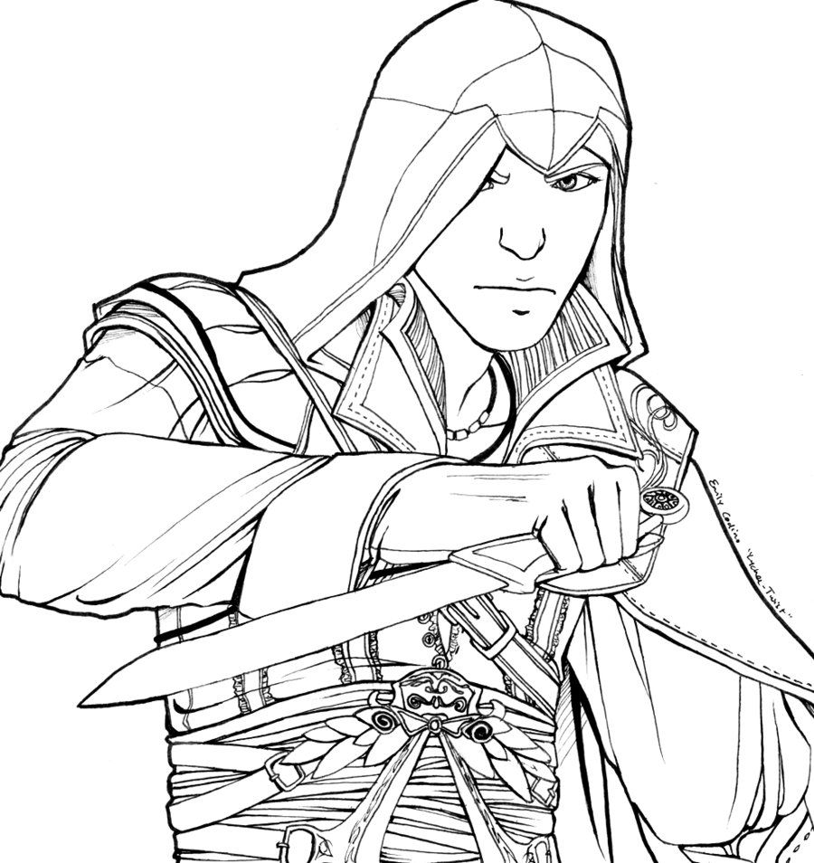 assassin s creed coloring pages - coloring page assassin altair by lychee twist coloriage