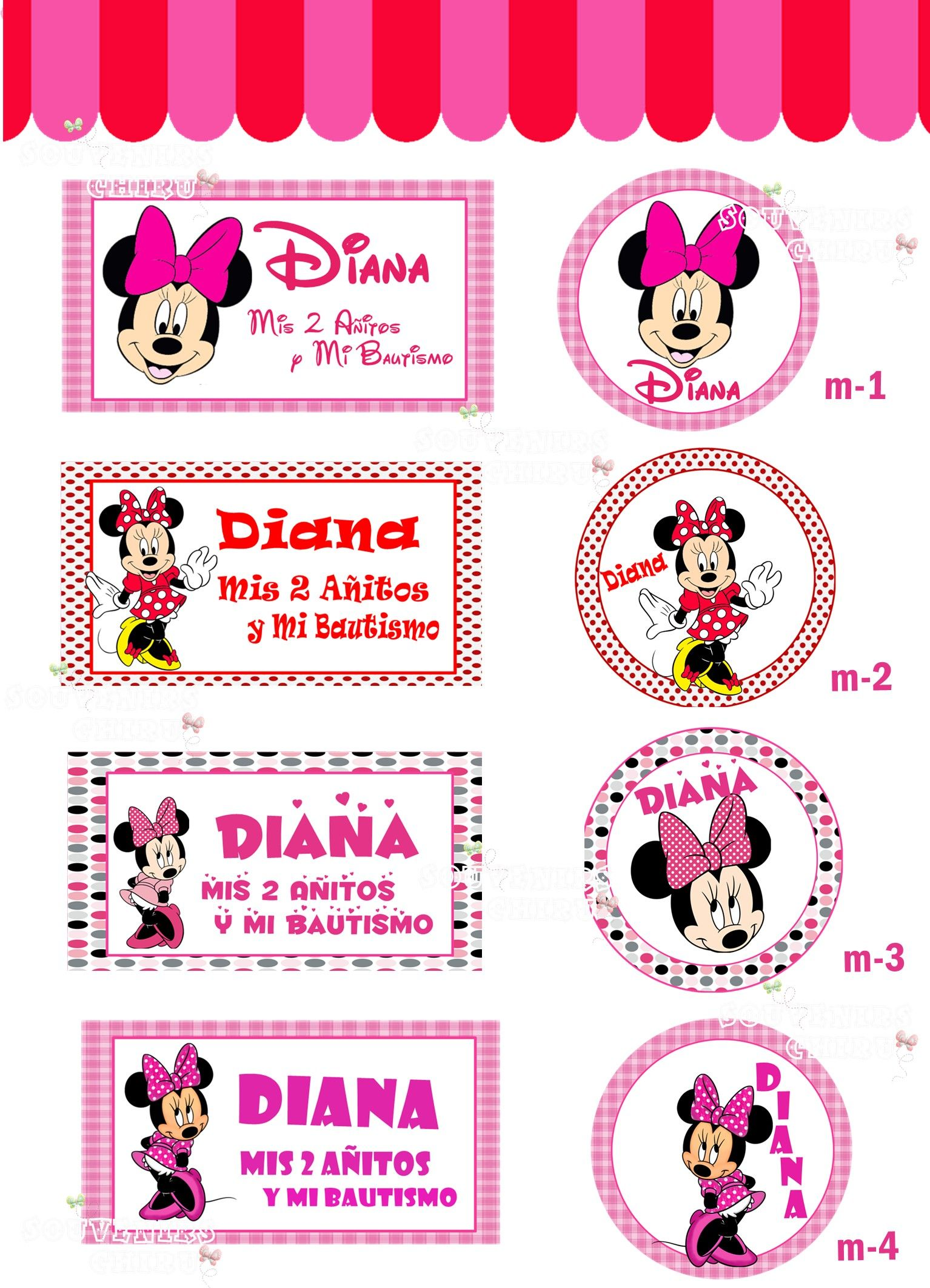 Etiquetas personalizadas Minnie. Candy bar minnie. chiru.souvenirs ...