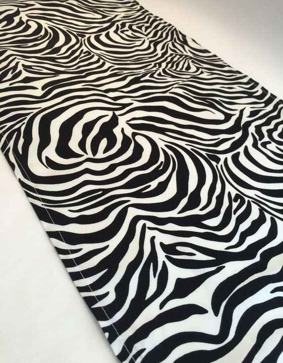 Black And White Zebra Print Fabric Accent Table Mat Or Table Runner Perfect  For An Animal