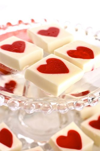 Completely adorable little Valentine's Jello Heart Squares.