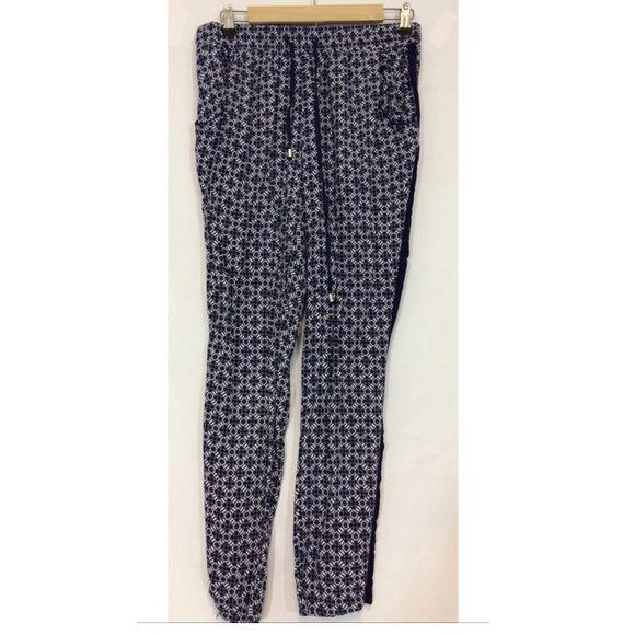 French Laundry Lounge Pajama Pants Navy Blue French Laundry Size M Medium  Lounge Pants Navy Blue White Pajama Pants Measured Laying Flat Waist -  14.5