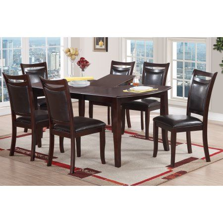 Beautiful Espresso Contemporary Dining Room Furniture 7pc Set Dining