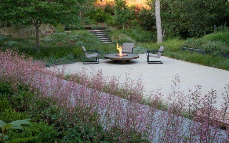 Plantes Vivaces Graminees Et Arbres Dans Le Jardin Moderne