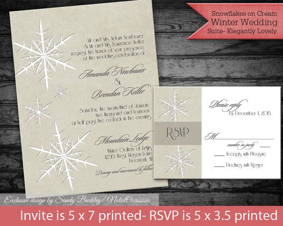 Cream Snowflake Winter Wedding Invitations  by NotedOccasions, $40.00