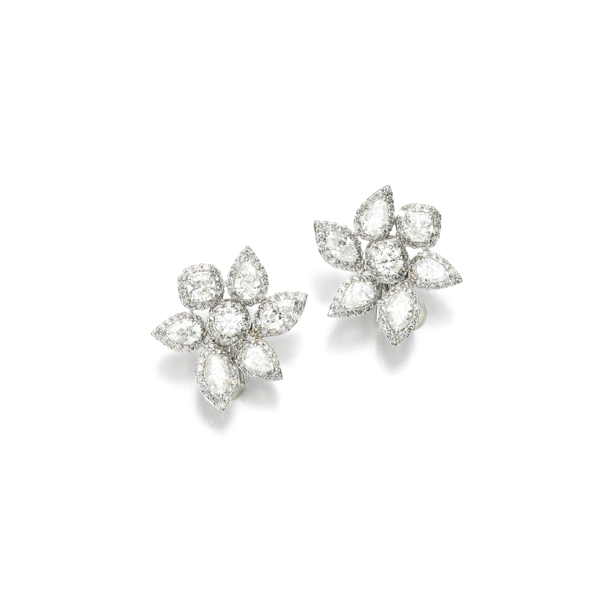 Pair Of Diamond Earrings Each Designed As A Flower Set With Cushion Marquise Pear Shaped And Brilliant Cut Diamonds Collapsible Post Hinged Back