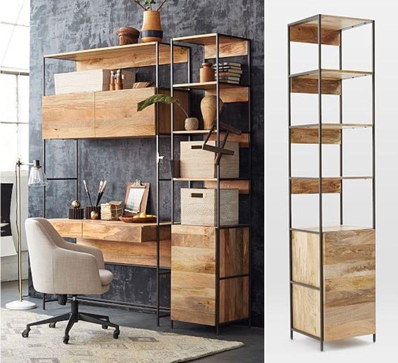 West Elm Inspired Diy Industrial Bookshelf With Free Plans Diy Industrial Bookshelf Diy Craft Room Storage Diy Craft Room