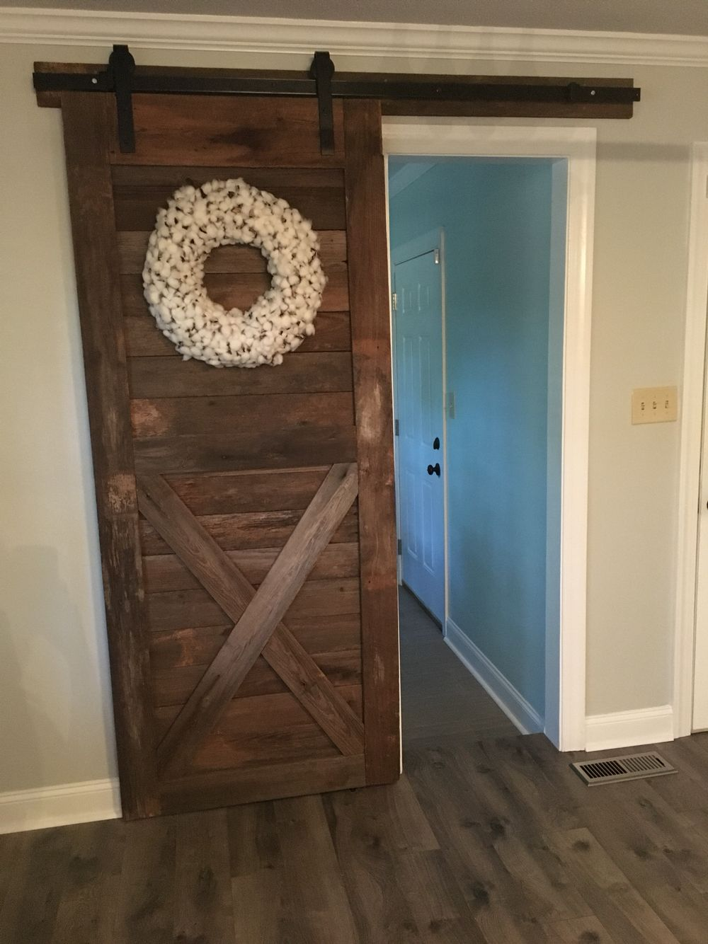 Barn Door made out of reclaimed barn wood, track from Home