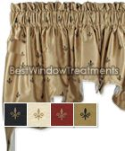 Fleur De Lis Ss Valance Swag Window Top Treatments In Red Gold Or Black Faux Silk Fabric Color