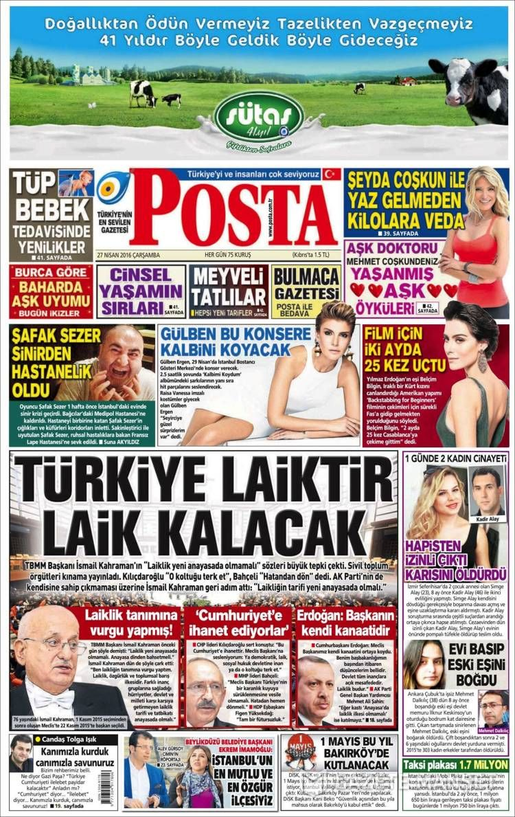 #20160427 #TürkiyeHABER #TURKEY #TurkeyTodayNEWSpapers20160427 Wednesday APR 27 2016 http://en.kiosko.net/tr/2016-04-27/ + http://www.trthaber.com/foto-galeri/gazete-mansetleri-27042016/10269/sayfa-6.html + #POSTA20160427 http://en.kiosko.net/tr/2016-04-27/np/posta_gazetesi.html
