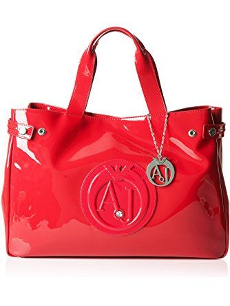 e65160b50 Armani Jeans Eco Patent Leather East West Logo Tote, Tango Red ...