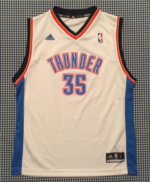 8e1f82626 Kevin Durant Oklahoma City Thunder Adidas Replica Jersey White Youth Large  NBA