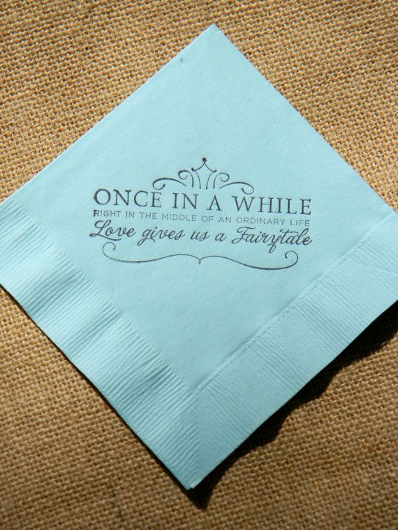 a52d9cf7f24 Fairytale Love Light Blue Paper Wedding Cocktail Napkins Once in a ...