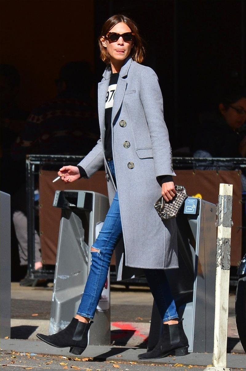 Alexa Chung wearing Penelope Chilvers Cubana Boots, Burberry Prorsum Cashmere-Felt Coat and Bella Freud 1970 Merino Wool Sweater