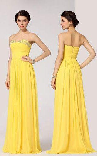 BCBGMAXAZRIA Strapless Sequin Yellow Long Prom Gown | BCBG Dresses ...