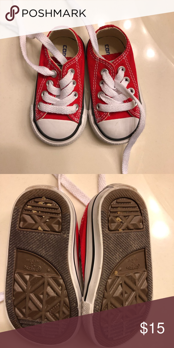 e18ca21bc3d2 Red chuck Taylor s! Red converse toddler size 3!! No rips