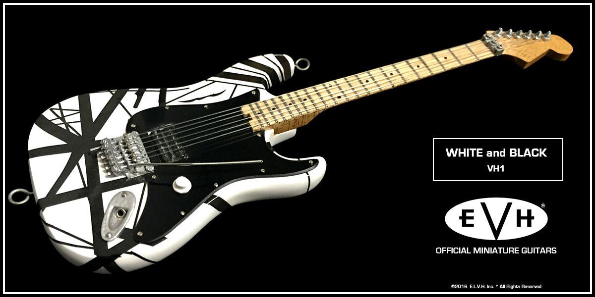 026e85935d9 EVH Black   White VH1 Eddie Van Halen Mini Guitar Replica Collectible -  Officially Licensed