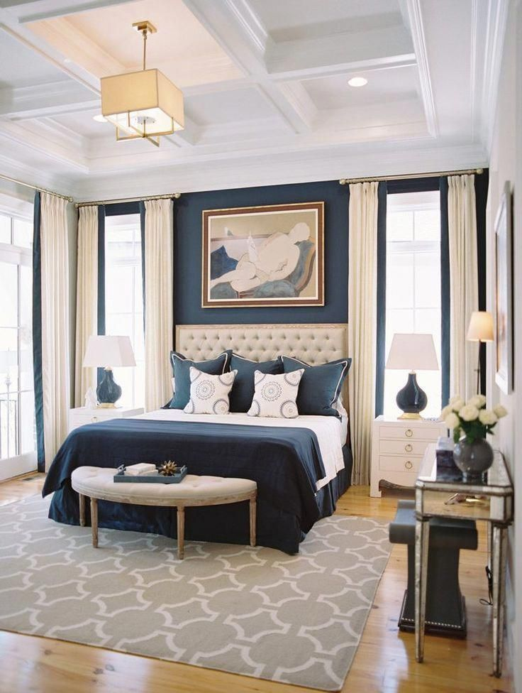 Best Navy Blue Bedroom With Coffered Ceilings Master Bedroom 400 x 300