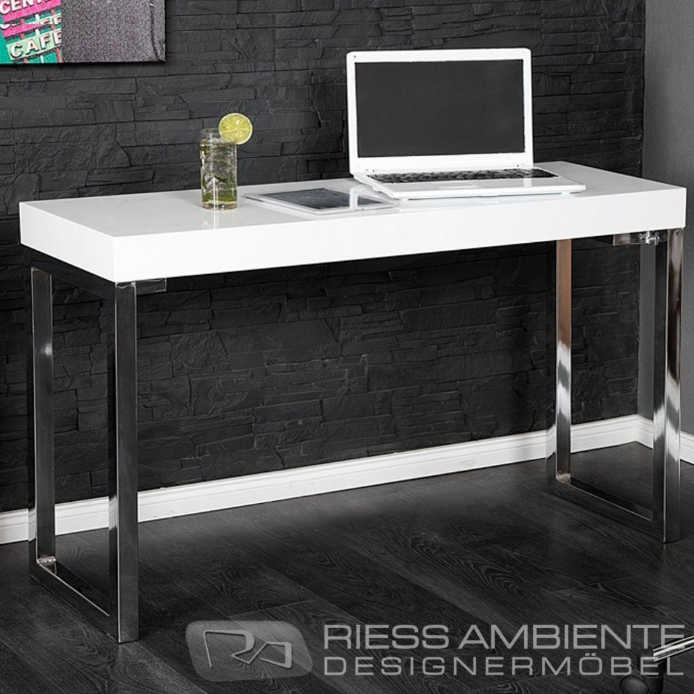 Design Laptoptisch White Desk 120cm Hochglanz Weiss Schreibtisch