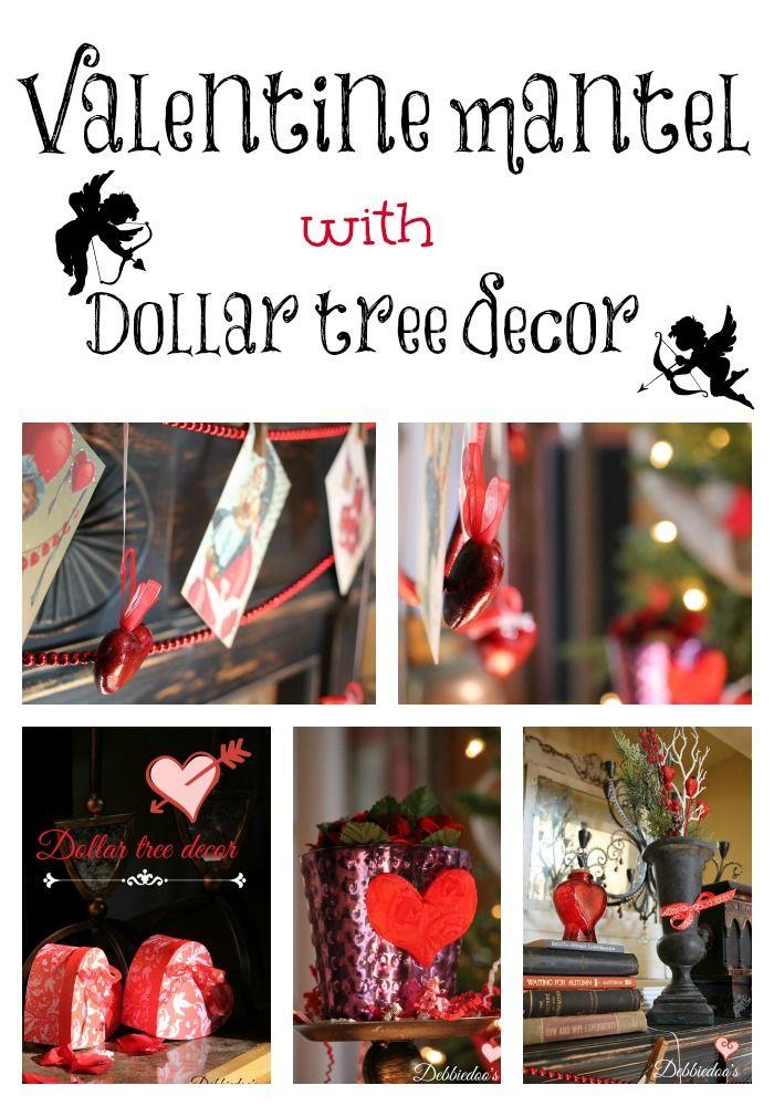 Valentine Mantel With Dollar Tree Decor