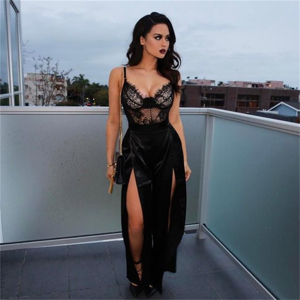Black lace popular new prom dress sexy fashion slit prom dresses