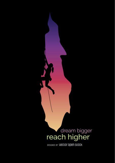 Rock Climbing Girl With Beautiful Twilight Sundown On The