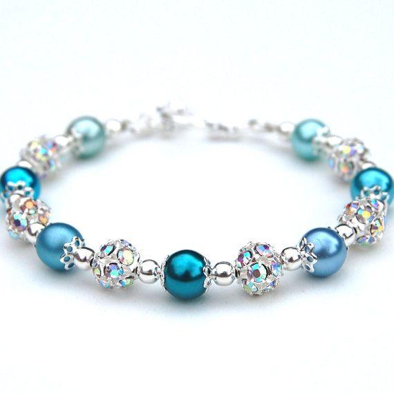 Bridal Blush Pink Pearls,Rhinestone Bracelet,wedding Bridesmaids Gift Jewellerys