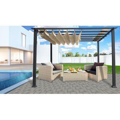 Paragon Outdoor 11 W Aluminum Pergola With Canopy Wayfair In 2020 Aluminum Pergola Pergola Canopy Pergola